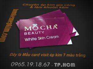 Card visit ép kim 7 màu trắng dạng tem chiếu